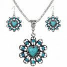 Tibetan Silver Turquoise Crystal Pendant Necklace Earrings Sets