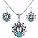 Tibetan Silver Turquoise Crystal Peacock Pendant Necklace Earrings Jewelry Sets