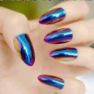 STILETTO MIRROR *Blue Mirror* Full Cover Press On 24 Nail Tips + Glue!