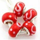 Lampwork Handmade Glass Beads Fit Charm Bracelet - Red White S Swirl (5)
