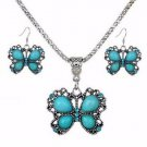 Boho Tibetan Silver Turquoise Crystal Butterfly Pendant Necklace Earrings Sets
