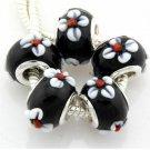 (5pcs) Lampwork Handmade Glass Beads Fit Charm Bracelet - Black White Flower