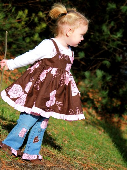 Romantic Roses Pink and Brown Custom made Dress & ruffle jeans set