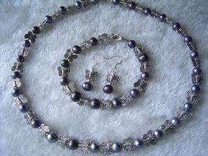 black pearl butterfly spacer jewelry set Necklace, Bracelet, earrings