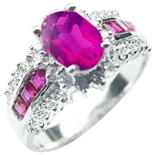 18K White Gold Plated Oval Garnet Color CZ Ring