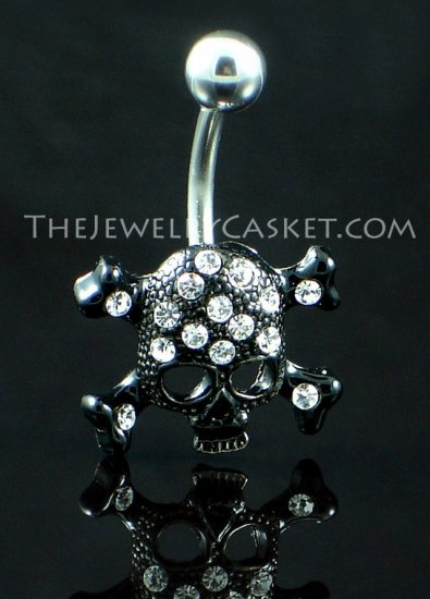 Black Skull with Crystals Navel Barbell