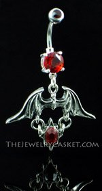 Demon Winged Ruby Crystal Navel Jewelry
