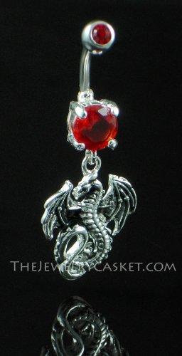 Dragon Charm Ruby Crystal Navel Jewelry