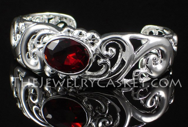 Scrollwork with Red CZ Bangle
