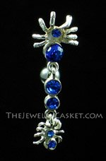 Reverse-Style Cobalt Crystal Spiders Navel Jewelry