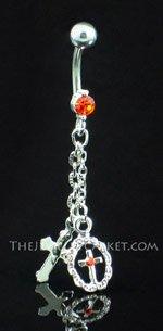 Double Cross ~ Pumpkin Crystal Belly Ring