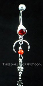 Elegant Ruby Crystal Navel Jewelry