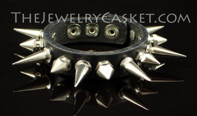 Alternating Spikes ~ Black Leather Wristband