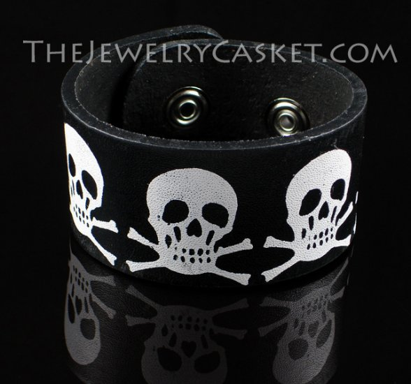 Painted Skulls ~ Black Leather Wristband