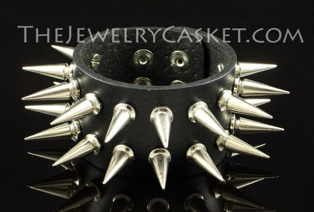 Double Row Long Spikes ~ Black Leather Wristband