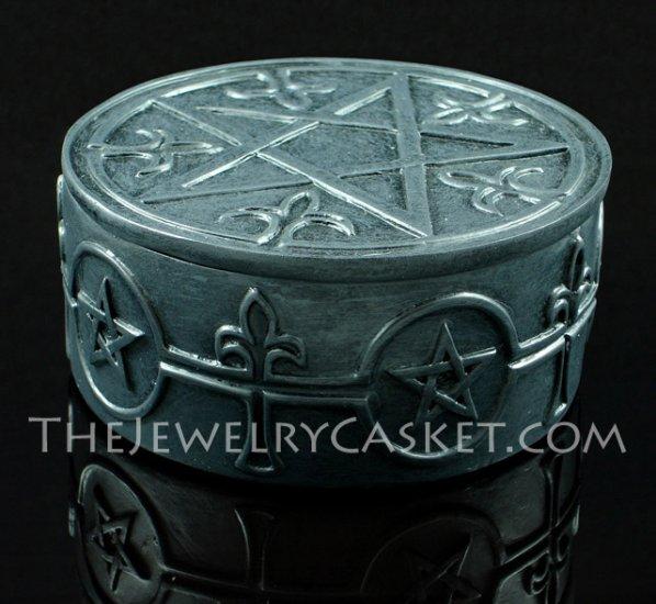 Spades and Pentagrams ~ Round Black Trinket Box