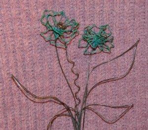 Hanging Flower - 2 Flower Arrangement - Teal