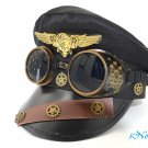 Pilot Aviator Police Captain Hat Steampunk Handmade Costume Cosplay Party W/ Goggles
