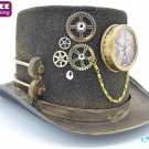 Steampunk Copper Top Hat Halloween Costume Cosplay Party W/ Clock and Chains