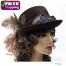 Women Steampunk Festival Party Vintage Party Hat with Goggle Brown