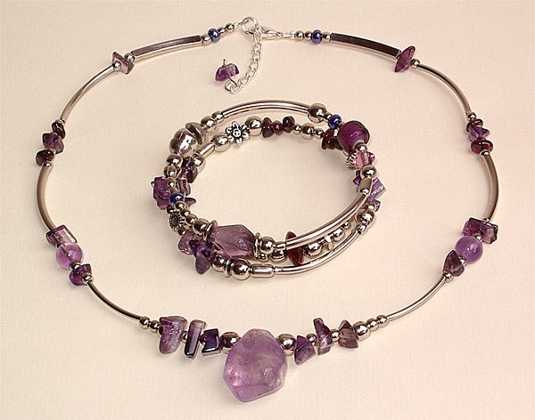 Amethyst Necklace and Bracelet - Peru