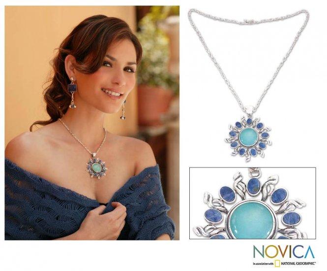 Opal and Sodalite Blue Sun Necklace - Peru