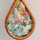 Copper Tear Drop Pendant with Roman Glass - Israel