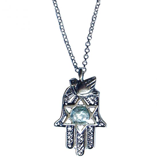 Dove of Peace and Star Chamsa Necklace - Israel