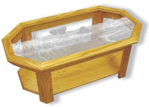 Etched Glass - Black Bear and Cubs - Solid Oak Coffee Table - Octagon