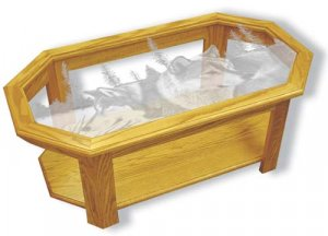 """Etched Glass - Wolves - """"Blue Morning Trackers"""" Solid Oak Coffee Table - Octagon"""