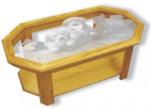 Etched Glass - Golden Retriever Puppies - Solid Oak Coffee Table - Octagon