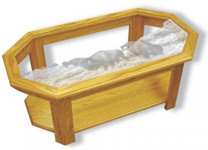 Etched Glass - Buffalo - Solid Oak Coffee Table - Octagon