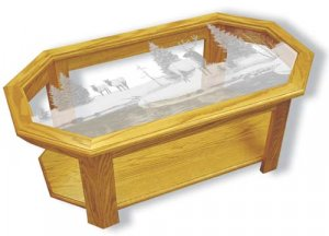 Etched Glass - Elk - Solid Oak Coffee Table - Octagon