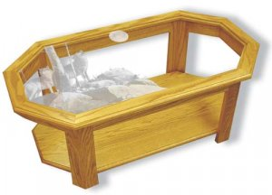 Etched Glass - Rocky Outpost Wolves - Solid Oak Coffee Table - Octagon