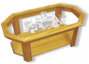 Etched Glass - Yarn Party Kittens - Solid Oak Coffee Table - Octagon - cats