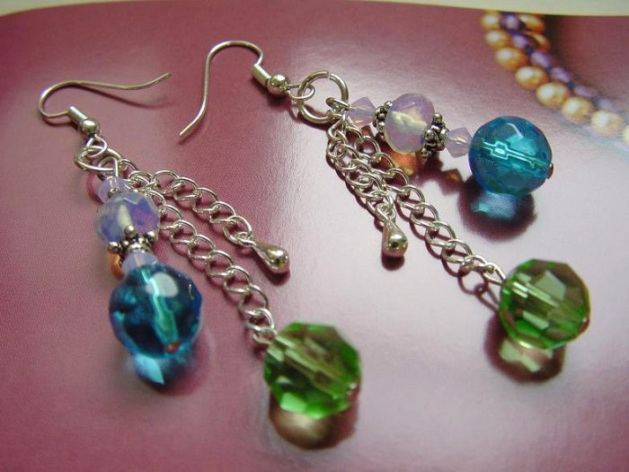 #CD209 = BLUE n GREEN Crystal Earrings
