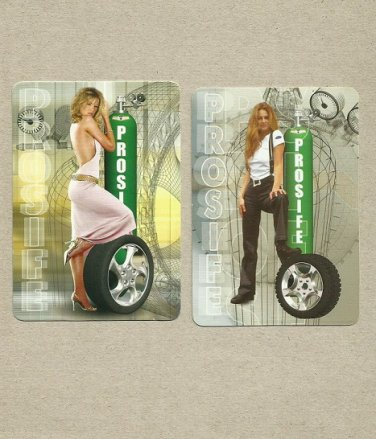 TWO SEXY GIRL GARAGE SUPPLY UKRAINIAN AND RUSSIAN LANGUAGE CALENDAR CARDS 2005 and 06