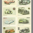 COLLECTION OF EIGHT CLASSIC CAR LATVIAN and  RUSSIAN LANGUAGE CALENDAR CARDS 1987