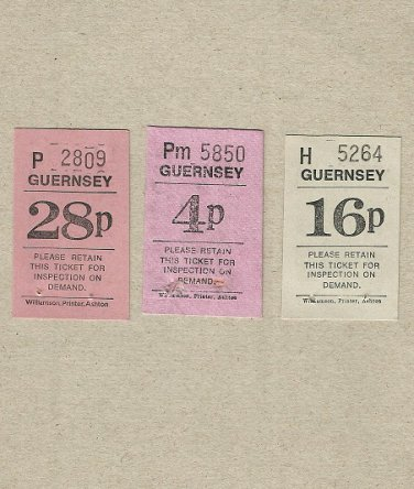 ISLAND OF GUERNSEY THREE BUS TRANSPORT TICKETS