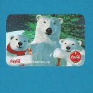 COCA COLA POLAR BEARS POLISH LANGUAGE ADVERTISING CALENDAR CARD 1999