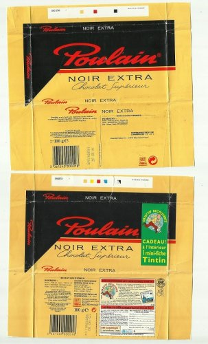 PAIR OF 100gr POULAIN NOIR EXTRA CHOCOLATE WRAPPERS TIN TIN MOVIE ADVERTISING 1997