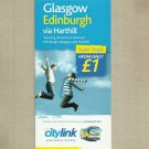 CITYLINK GLASGOW EDINBURGH HARTHILL SCOTLAND BUS TIMETABLE OCTOBER 2009