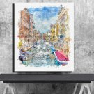 Italy, Venice, Gondola, Digital Download, Print, Poster, Art, Watercolor, Painting