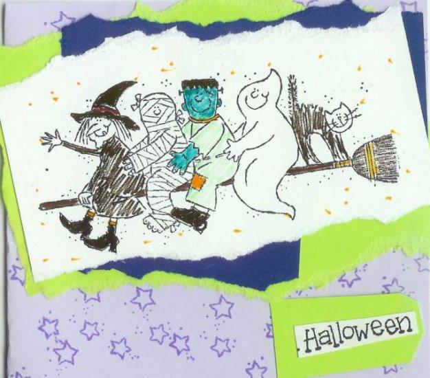 Neon Halloween Gang Card