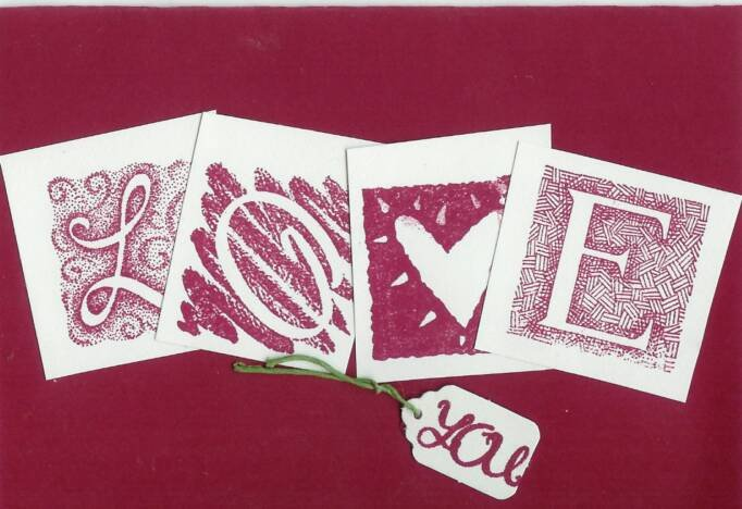 Love You in Burgundy Card