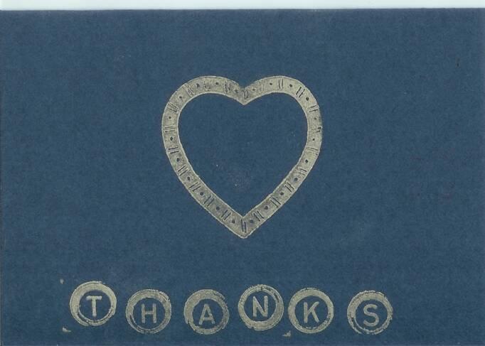 Silver Heart Thank You Card