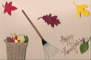 Raking Leaves Thanksgiving Card