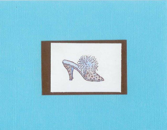 Chocolate & Tiffany Blue Shoe Card