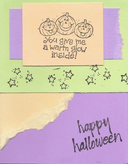 Neon Pumpkins Halloween Card