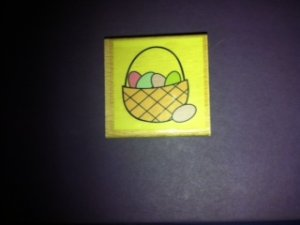 Easter Eggs in a Basket Rubber Stamp